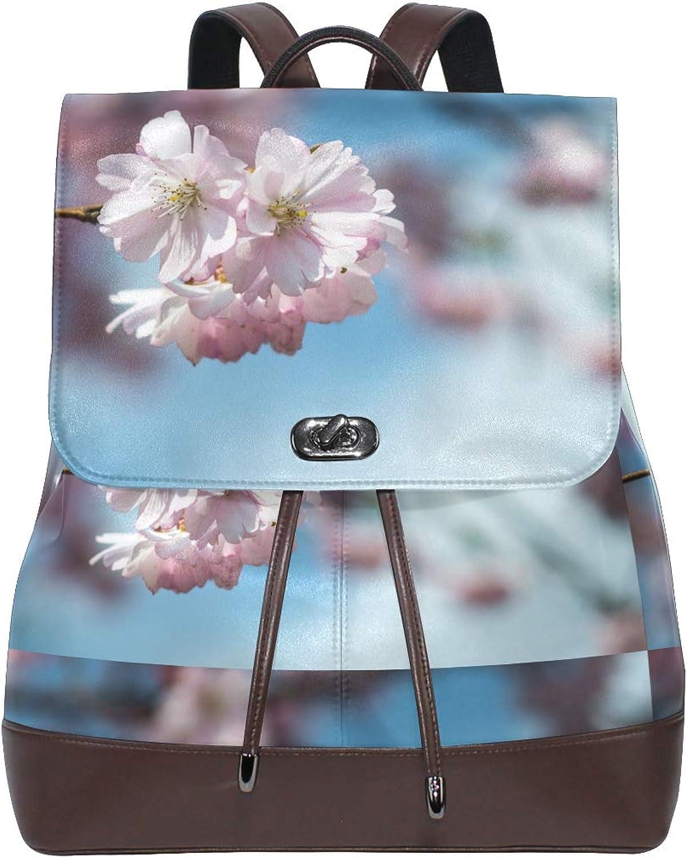 FAJRO Cute Cherry BlossomTravel Backpack Leather Handbag School Pack