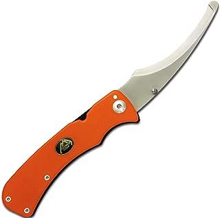 Outdoor Edge ZipPro, ZO-10C, Folding Gutting Knife for Big Game Hunting, Frame-Lock, Pocket Clip (Blaze Orange)