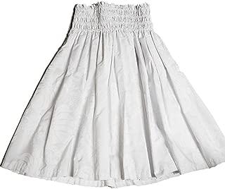 Hawaiian Pa'u Hula Skirt, White Flower on White Background