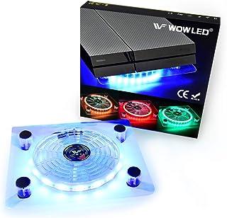 Ventilador Wowled con LED RGB, por USB, soporte refrigerador para PS4, Playstation 4, accesorio con minicontrolador para consola o portátil