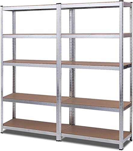 """new arrival Giantex 2 Pieces Shelving Rack Storage Shelf Steel Garage Utility Rack 5-Shelf Adjustable Shelves Heavy Duty Display Stand for Books, Kitchenware, lowest Tools online sale Bolt-Free Assembly 36""""x 16""""x 72'', Silver outlet sale"""