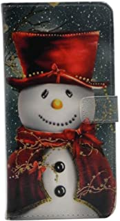 cyd_amsy Galaxy S9 Case - Lovely Christmas Snowman with Red Scarf and Top Hat Pattern Leather Wallet Case Stand Cover with Cash Card Slots for Samsung Galaxy S9 -Cool as Great Xmas Gift