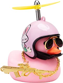 wonuu Rubber Duck Toy Car Ornaments Pink Duck Car Dashboard Decorations Set with Propeller Helmet, Sunglasses, and Gold Ch...