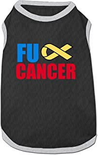 Fuck Cancer Ribbon Pet Dogs 100% Fleece Vest T Shirt Ash