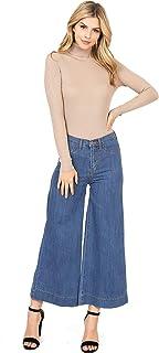 Pink Ice Women's Juniors High Waist Crop Fit Wide Leg Gaucho Denim Pants