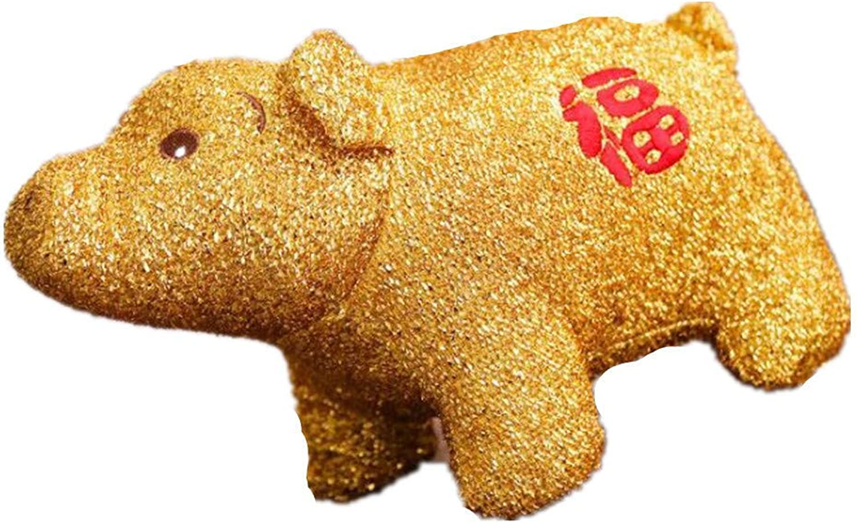 ZSDGY Cadeau Oreiller Cochon Mascotte Poupée en Or Poupée en Peluche,B-40cm