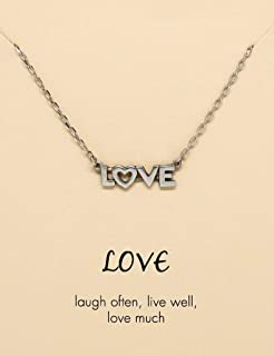 Quan Jewelry Love Pendant Necklace, Live Love Laugh Jewelry in Silver Tone, for Women with Greeting Card and Ghirardelli Chocolate