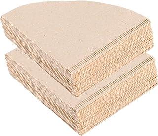 Cikonielf 80 adet tek kullanımlık kahve filtre kağıdı Koni şeklinde odun hamuru damlama cezve Ev ofis aksesuarları Bej (1-...