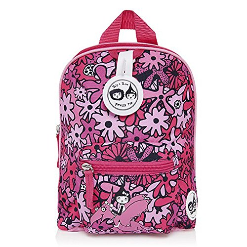 Babymel Kids Mini Backpack Rucksack With Harness & Musical Tag - Floral Pink Design - Suitable From 1-4 Years