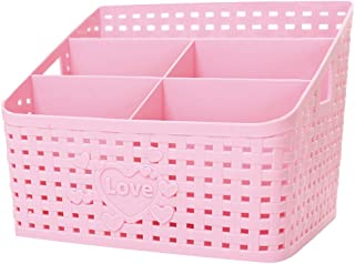 Coideal Plastic Pink Makeup Cosmetic Basket Storage Organizer for Desktop, Large Washable Mesh Hollow Bathroom Shower Caddy Organizer Skin Care Brush Holder for Vanity Counter Nightstand