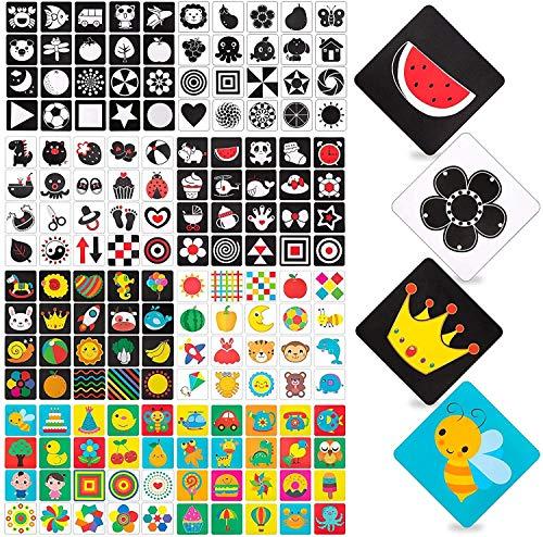 Comius Sharp Tarjetas Negras y Blancas para Bebés, 80 Piezas Tarjetas de Contraste para Bebés Estimulación Visual,Juguetes Bebes Recien Nacidos,Juego Educativo para Bebés 0-36 Meses