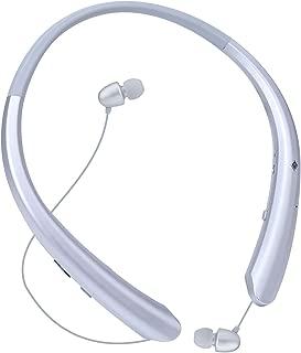 Bluetooth Headphones, Wireless Retractable Earbuds Neckband Headset Sports Sweatproof Earphones with Mic Silver Silver