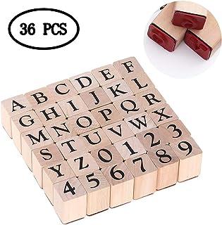 KAIMENG Juego de estampador de Goma de Madera - Sellos de números de Letras del Alfabeto