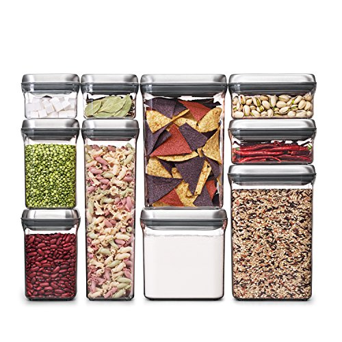 Lowest Prices! OXO SteeL 10-Piece Airtight POP Food Storage Container Set,Silver