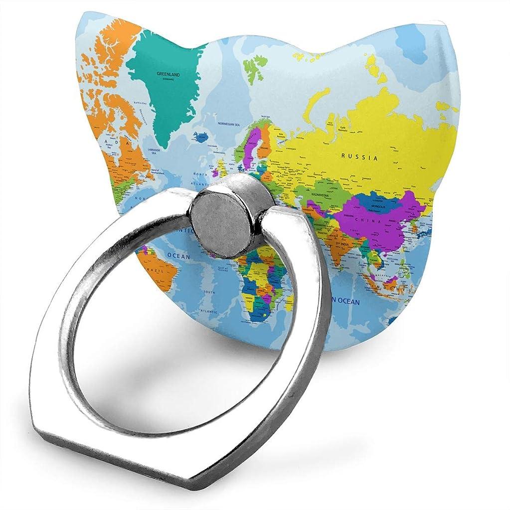 女の子決めます胚世界地図 スマホリング 猫耳 ホールド リング 指輪リング 薄型 おしゃれ 落下防止 360° ホルダー 強吸着力 IPhone/Android各種他対応