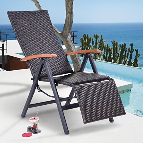 Happygrill Chaise Lounge Chair Adjustable Folding Reclining Rattan Chair for Beach Yard Patio Pool