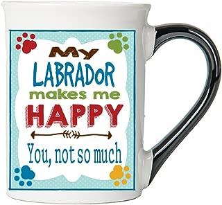 Cottage Creek Dog Mug Large 18 Ounce Ceramic My Labrador Makes Me Happy Coffee Mug/Lab Gifts Dog Gifts for Women [White]