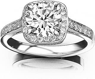 2.17 Carat 14K White Gold Classic Square Halo Diamond Engaement Ring (1.92 Ct D Color VS2 Clarity Center Stone)