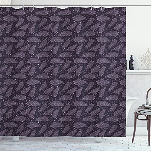 ABAKUHAUS Feder Duschvorhang, Romantisches Zentangle, Waserdichter Stoff mit 12 Haken Set Dekorativer Farbfest Bakterie Resistet, 175 x 180 cm, Pale Aubergine Flieder