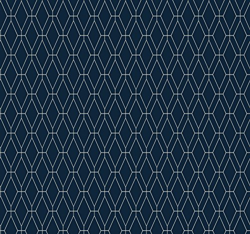 York Wallcoverings GE3652 Ashford Geometrics Diamond Lattice Wallpaper,,, Navy Blue, White