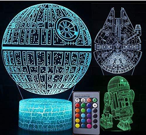 Star Wars Lámpara de luz nocturna 3D ilusión lámpara de escritorio lámpara de proyección lámpara de luz nocturna lámpara para sala de estar lámpara para habitación infantil