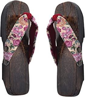 Healifty Japanese Wooden Clogs Sandals Japan Traditional Shoes Geta for Baby Pink(Size 20-30)