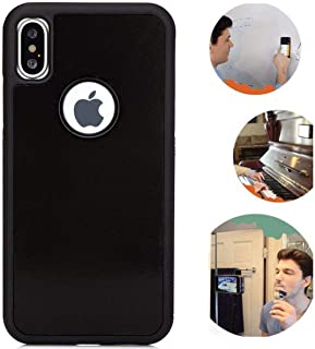 Anti Gravity iPhone X Case, iPhone Xs Case, Magic Nano Suction Sticky Black Anti Gravity case for iPhone X/Xs Hands Free Selfie Stick to Wall Durable Protection Shell Back Cover with dust Proof Film
