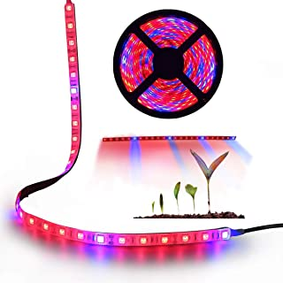 AveyLum Plant Grow Light 5050 SMD LED Plant Strip Lights Indoor Growing Lamp 16.4ft Waterproof Flexible Soft Rope Light with 12V Adapter for Greenhouse Hydroponics Flower Seeds(Red Blue 4:1)