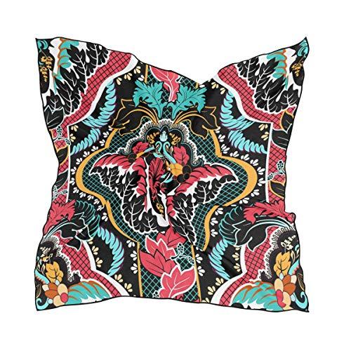 NaiiaN Bunter Weinlese-symmetrischer Blumen-nahtloser Muster-Kopftuch-Leiter-Kopf wickelt quadratischen Schal-Schal-leichten Druck 60 × 60 cm für Frauen-Damen ein