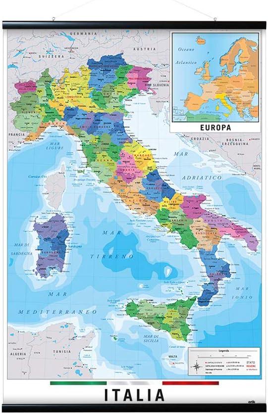 Cartina Fisica Sardegna Da Stampare.Grupo Erik Appendi Stecche Magnetiche Poster Cartina Dell Italia Politica Cornice 61x91 5 Amazon It Casa E Cucina