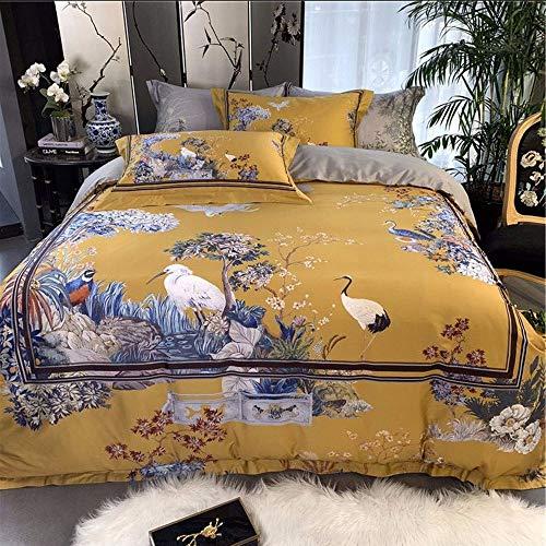 WHSS Juego de cama doble de algodón de estilo europeo, color amarillo, impresión digital, patrón de grúa, juego de ropa de cama de regalo, estilo de hotel (tamaño: 200 x 230 cm)