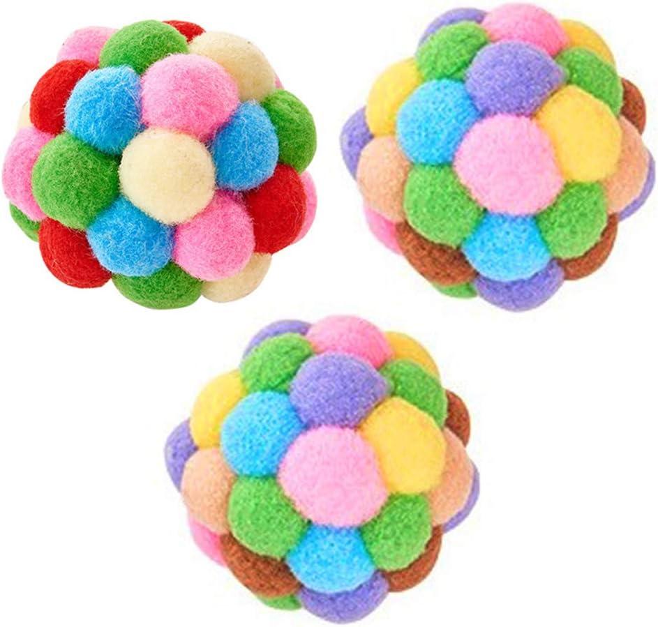 3pcs 7cm Ranking TOP10 Colorful Cat Toys Creative Chew Color excellence Pompo Pet Rainbow