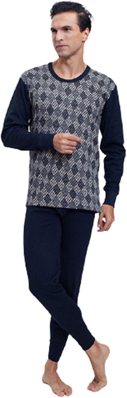 Men Thermal Performance Underwear Set,Base Layer Midweight Soft Fleece Warm Long Sleeve Vest and Bottoms,Blue,XXL