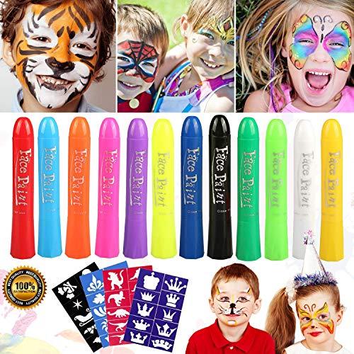 Buluri Halloween Schminke Gesichtsfarbe für Kinder, 12 Farben Gesicht Körper Malerei Kits Sicher Professionelle Schminke Sets für Bodypainting Körperfarben Facepainting Schminkset ostergeschenke