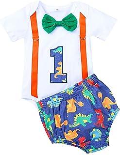 FYMNSI - Pelele de manga corta para bebé, niño, primer cumpleaños, diseño de dinosaurio, algodón, con tirantes, pantalones...