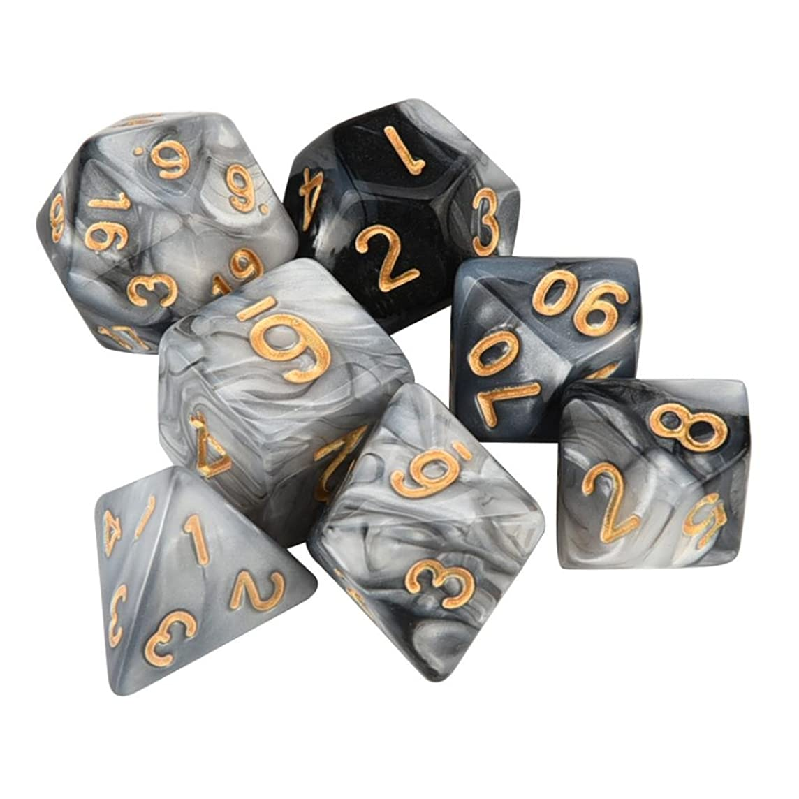 SUJING 7pcs/Set Multi-Color Dice Set, TRPG Game Dungeons & Dragons Polyhedral D4-D20 Multi Sided Acrylic Dice