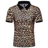 Camisa Casual Hombre Cuello Kent Camisa Hombre Verano con Estampado Leopardo Hombre Ropa Calle Hombre Fiesta Navideña Club Nocturno Manga Corta Hombre D-Yellow2 XXL
