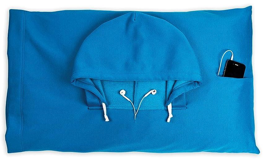 スカルク凝視適用する(フッディピロー) HoodiePillowブランド 枕カバーー複数の色 20 x 32 ブルー HP012