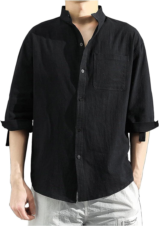 AIchenYW Men's Casual Short Sleeve Button Down Shirts Half Sleeve T-Shirt Coat Regular Fit Summer Turn-Down Collar Shirt