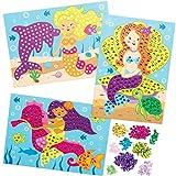 Baker Ross AT732 Kit Immagini Paillettes Sirena, per progetti di artigianato artistico per bambini (confezione da 4), assortiti