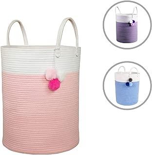 Solaya Tall Pink Cotton Rope Basket Storage 16