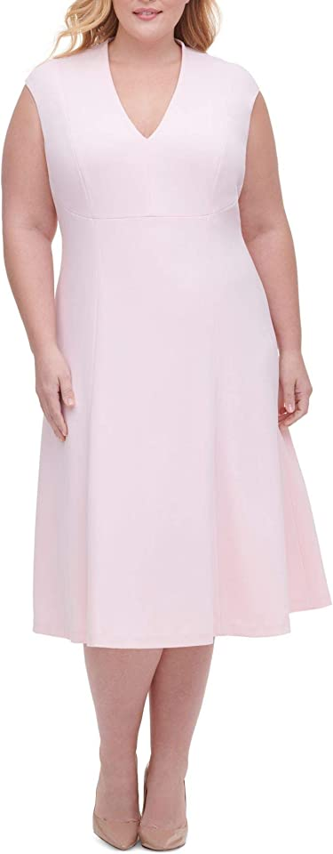 Tommy Hilfiger Womens Pink Zippered Solid Sleeveless V Neck Below The Knee Fit + Flare Evening Dress Size 18W