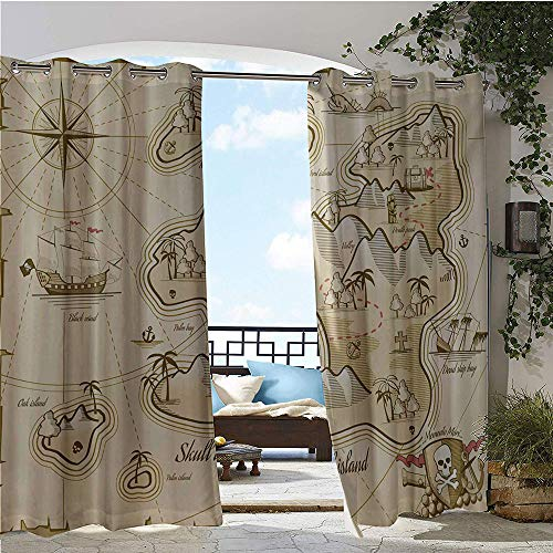 Outdoor- Free Standing Outdoor Privacy Curtain, Hand Drawn Map of Treasure Island Sea Adventure Ocean Navigation Compass, for Front Porch Covered Patio Gazebo Dock Beach Home W120 x L108 Inch Pale Bro