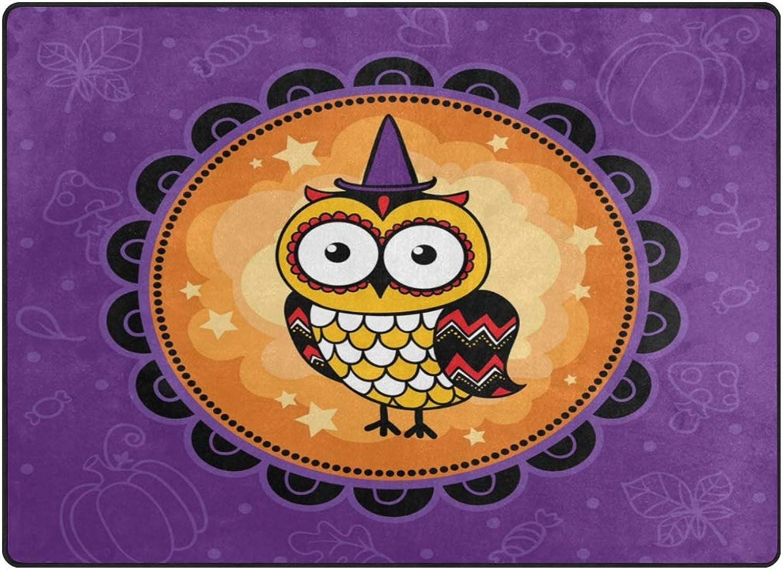 SUABO 80 x 58 inches Area Rug Non-Slip Floor Mat Halloween Owl Printed Doormats Living Room Bedroom