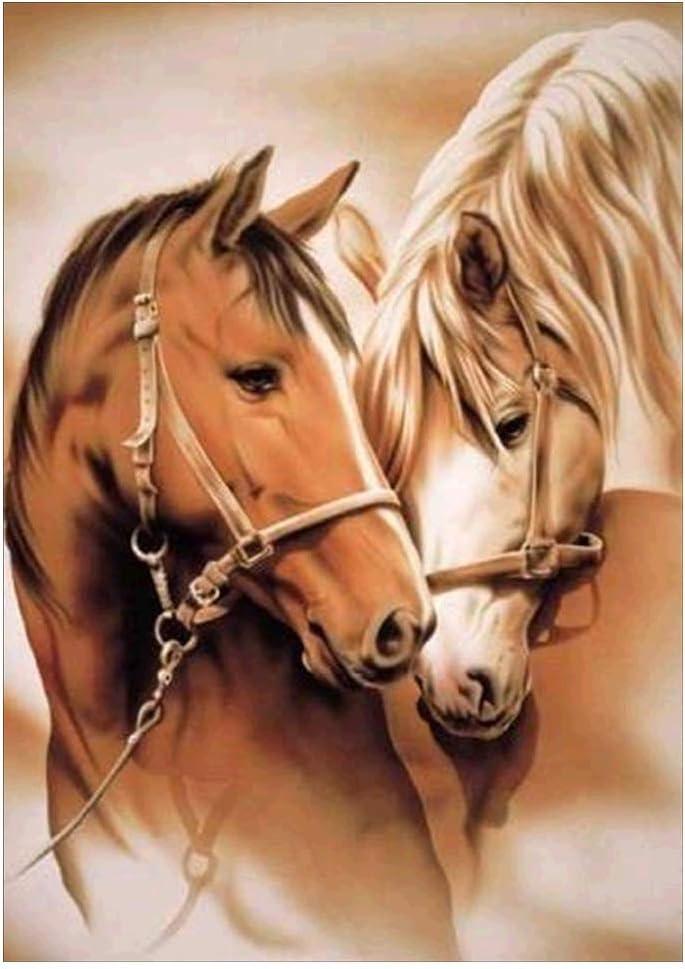 PINH - Juego de pinturas de diamantes 5D para decoración navideña, diseño de caballo, hecho a mano, diamantes completos, punto de cruz, estrás, mosaico, decoración de habitaciones, decoración de pared