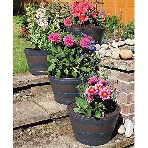 Coopers of Stortford Large Outdoor Plant Flower Pots | 30cm Set of 4 | Half Barrel Oak Effect Plastic Planter
