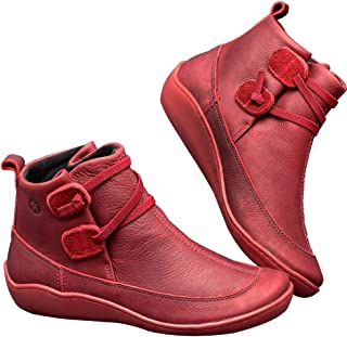 Women's Arches Support Ankle Boots Casual Comfy Flat Waterproof Boots