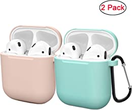 Compatible AirPods Case Cover Silicone Protective Skin for Apple Airpod Case 2&1 (2 Pack) Sand Pink/Turquoise