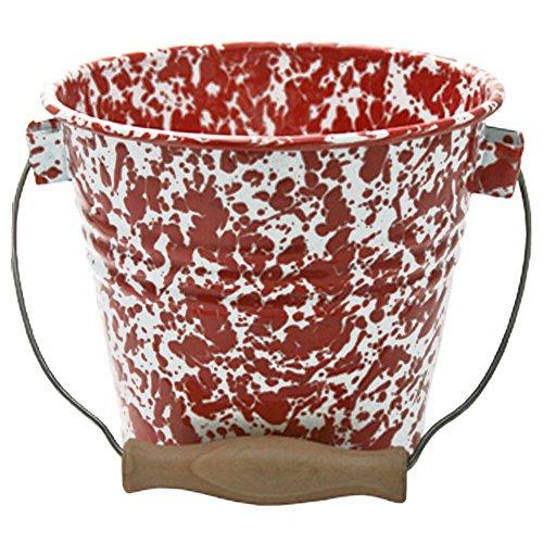 Enamelware Pail, 2.25 quart, Red/White Splatter