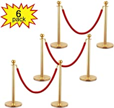 Sandinrayli 6 Pack Ball Round Top Stanchion Posts Set Queue Safety Barrier with Red Velvet Ropes, Gold